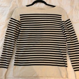 Ann Taylor Loft White and Black Stripped Sweater